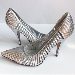 Gucci Metallic Silver Caged Heels